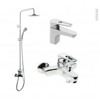 Pack robinetterie - OPAH - Mitigeur lavabo bec bas, colonne de douche et mitigeur bain - Chromé