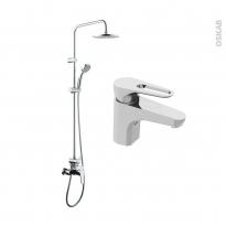Pack robinetterie - OPAH - Mitigeur lavabo bec bas et colonne de douche - Chromé