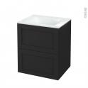 Meuble de salle de bains - Plan vasque VALA - AVARA Frêne Noir - 2 tiroirs - Côtés décors - L60,5 x H71,2 x P50,5 cm