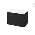 Meuble de salle de bains - Plan vasque NAJA - AVARA Frêne Noir - 2 tiroirs - Côtés décors - L80.5 x H58.5 x P50.5 cm