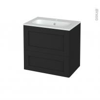 Meuble de salle de bains - Plan vasque REZO - AVARA Frêne Noir - 2 tiroirs - Côtés décors - L60,5 x H58,5 x P40,5 cm
