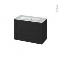Meuble de salle de bains - Plan vasque REZO - AVARA Frêne Noir - 2 tiroirs - Côtés décors - L80.5 x H58.5 x P40.5 cm