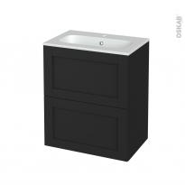 Meuble de salle de bains - Plan vasque REZO - AVARA Frêne Noir - 2 tiroirs - Côtés décors - L60,5 x H71,5 x P40,5 cm