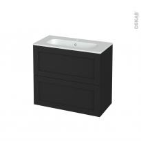 Meuble de salle de bains - Plan vasque REZO - AVARA Frêne Noir - 2 tiroirs - Côtés décors - L80.5 x H71.5 x P40.5 cm