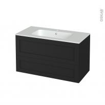 Meuble de salle de bains - Plan vasque REZO - AVARA Frêne Noir - 2 tiroirs - Côtés décors - L100,5 x H58,5 x P50,5 cm