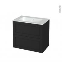 Meuble de salle de bains - Plan vasque REZO - AVARA Frêne Noir - 2 tiroirs - Côtés décors - L80.5 x H71.5 x P50.5 cm