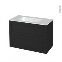 Meuble de salle de bains - Plan vasque REZO - AVARA Frêne Noir - 2 tiroirs - Côtés décors - L100,5 x H71,5 x P50,5 cm