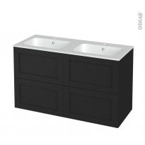 Meuble de salle de bains - Plan double vasque REZO - AVARA Frêne Noir - 4 tiroirs - Côtés décors - L120,5 x H71,5 x P50,5 cm