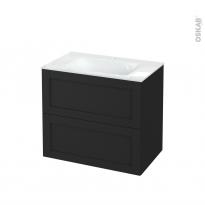 Meuble de salle de bains - Plan vasque VALA - AVARA Frêne Noir - 2 tiroirs - Côtés décors - L80.5 x H71.2 x P50.5 cm