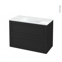 Meuble de salle de bains - Plan vasque VALA - AVARA Frêne Noir - 2 tiroirs - Côtés décors - L100,5 x H71,2 x P50,5 cm