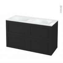 Meuble de salle de bains - Plan double vasque VALA - AVARA Frêne Noir - 4 tiroirs - Côtés décors - L120,5 x H71,2 x P50,5 cm