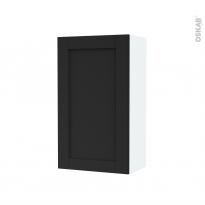 Armoire de salle de bains - Rangement haut - AVARA Frêne Noir - 1 porte - Côtés blancs - L40 x H70 x P27 cm
