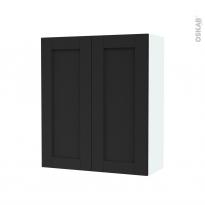 Armoire de salle de bains - Rangement haut - AVARA Frêne Noir - 2 portes - Côtés blancs - L60 x H70 x P27 cm