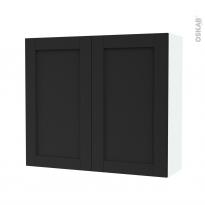 Armoire de salle de bains - Rangement haut - AVARA Frêne Noir - 2 portes - Côtés blancs - L80 x H70 x P27 cm