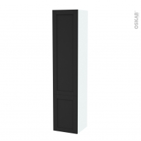Colonne de salle de bains - 2 portes - AVARA Frêne Noir - Côtés blancs - Version B - L40 x H182 x P40 cm