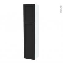Colonne de salle de bains - 2 portes - AVARA Frêne Noir - Côtés blancs - Version A - L40 x H182 x P40 cm