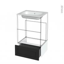 Tiroir sous meuble - Socle n°51 - AVARA Frêne Noir - pour meuble salle de bains - L60 x H26 x P45 cm