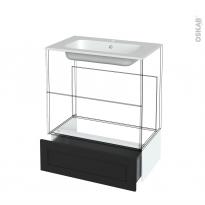 Tiroir sous meuble - Socle n°101 - AVARA Frêne Noir - pour meuble salle de bains - L80 x H26 x P45 cm