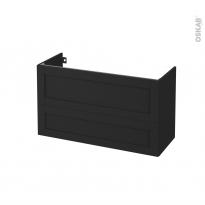 Meuble de salle de bains - Sous vasque - AVARA Frêne Noir - 2 tiroirs - Côtés décors - L100 x H57 x P40 cm