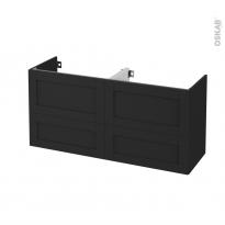 Meuble de salle de bains - Sous vasque double - AVARA Frêne Noir - 4 tiroirs - Côtés décors - L120 x H57 x P40 cm