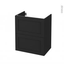 Meuble de salle de bains - Sous vasque - AVARA Frêne Noir - 2 tiroirs - Côtés décors - L60 x H70 x P40 cm