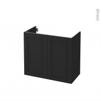 Meuble de salle de bains - Sous vasque - AVARA Frêne Noir - 2 portes - Côtés décors - L80 x H70 x P40 cm