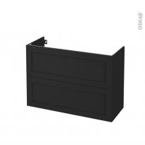 Meuble de salle de bains - Sous vasque - AVARA Frêne Noir - 2 tiroirs - Côtés décors - L100 x H70 x P40 cm