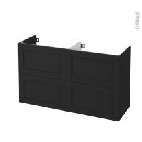 Meuble de salle de bains - Sous vasque double - AVARA Frêne Noir - 4 tiroirs - Côtés décors - L120 x H70 x P40 cm