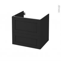 Meuble de salle de bains - Sous vasque - AVARA Frêne Noir - 2 tiroirs - Côtés décors - L60 x H57 x P50 cm