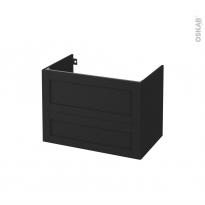 Meuble de salle de bains - Sous vasque - AVARA Frêne Noir - 2 tiroirs - Côtés décors - L80 x H57 x P50 cm