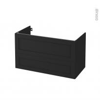 Meuble de salle de bains - Sous vasque - AVARA Frêne Noir - 2 tiroirs - Côtés décors - L100 x H57 x P50 cm