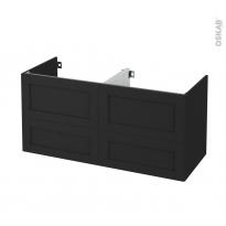 Meuble de salle de bains - Sous vasque double - AVARA Frêne Noir - 4 tiroirs - Côtés décors - L120 x H57 x P50 cm