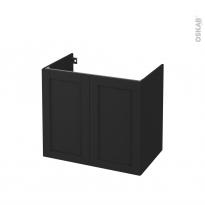 Meuble de salle de bains - Sous vasque - AVARA Frêne Noir - 2 portes - Côtés décors - L80 x H70 x P50 cm