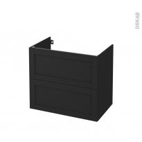 Meuble de salle de bains - Sous vasque - AVARA Frêne Noir - 2 tiroirs - Côtés décors - L80 x H70 x P50 cm