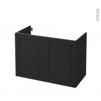 Meuble de salle de bains - Sous vasque - AVARA Frêne Noir - 2 portes - Côtés décors - L100 x H70 x P50 cm