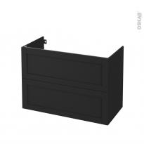 Meuble de salle de bains - Sous vasque - AVARA Frêne Noir - 2 tiroirs - Côtés décors - L100 x H70 x P50 cm
