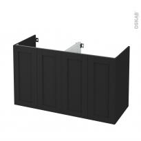 Meuble de salle de bains - Sous vasque double - AVARA Frêne Noir - 4 portes - Côtés décors - L120 x H70 x P50 cm