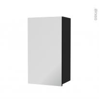 Armoire de salle de bains - Rangement haut - AVARA Frêne Noir - 1 porte miroir - Côtés décors - L40 x H70 x P27 cm