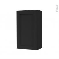 Armoire de salle de bains - Rangement haut - AVARA Frêne Noir - 1 porte - Côtés décors - L40 x H70 x P27 cm