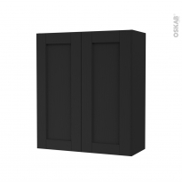 Armoire de salle de bains - Rangement haut - AVARA Frêne Noir - 2 portes - Côtés décors - L60 x H70 x P27 cm