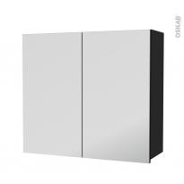 Armoire de salle de bains - Rangement haut - AVARA Frêne Noir - 2 portes miroir - Côtés décors - L80 x H70 x P27 cm