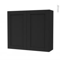 Armoire de salle de bains - Rangement haut - AVARA Frêne Noir - 2 portes - Côtés décors - L80 x H70 x P27 cm