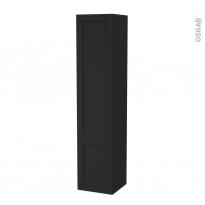 Colonne de salle de bains - 2 portes - AVARA Frêne Noir - Côtés décors - Version B - L40 x H182 x P40 cm
