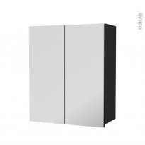 Armoire de salle de bains - Rangement haut - AVARA Frêne Noir - 2 portes miroir - Côtés décors - L60 x H70  xP27 cm