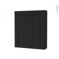 Armoire de toilette - Rangement haut - AVARA Frêne Noir - 2 portes - Côtés décors - L60 x H70 x P17 cm