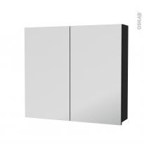 Armoire de toilette - Rangement haut - AVARA Frêne Noir - 2 portes miroir - Côtés décors - L80 x H70 x P17 cm