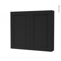 Armoire de toilette - Rangement haut - AVARA Frêne Noir - 2 portes - Côtés décors - L80 x H70 x P17 cm
