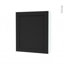 Armoire de toilette - Rangement haut - AVARA Frêne Noir - 1 porte - Côtés blancs - L60 x H70 x P17 cm