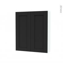 Armoire de toilette - Rangement haut - AVARA Frêne Noir - 2 portes - Côtés blancs - L60 x H70 x P17 cm