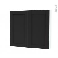 Armoire de toilette - Rangement haut - AVARA Frêne Noir - 2 portes - Côtés blancs - L80 x H70 x P17 cm